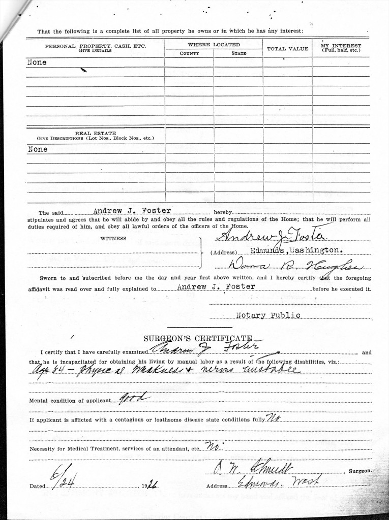 Andrew J. Foster Applicaitn for Admisison state Soldiers Home 4